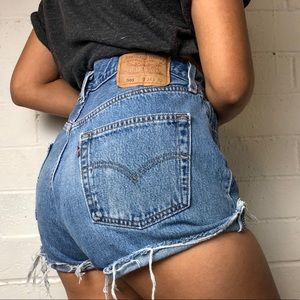 Vintage Levi's 501 high waisted distressed shorts